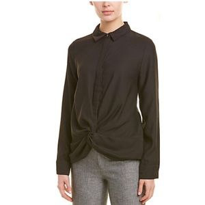 Nicole Miller Front Gather Button Down Blouse